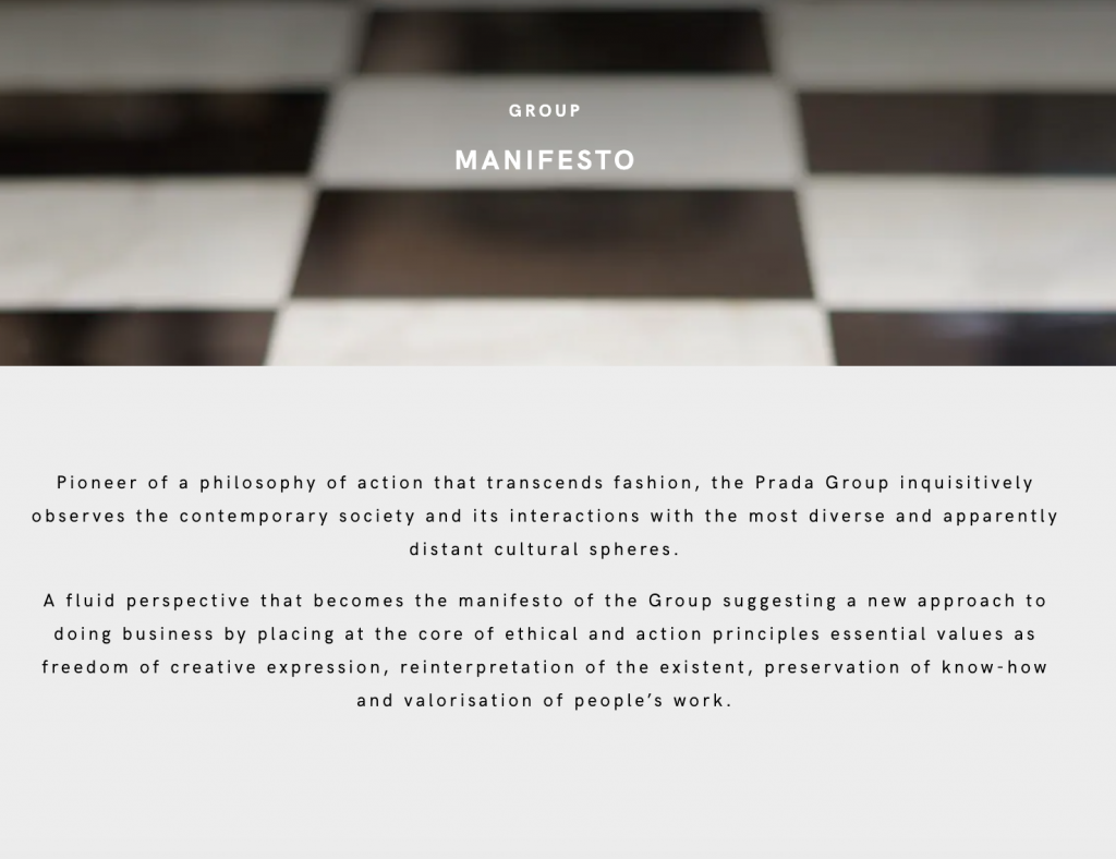 Brand Manifesto Prada